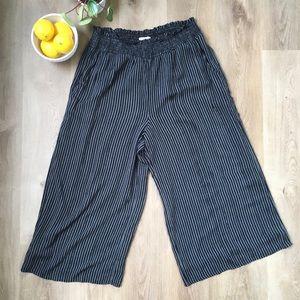American Eagle Black Stripe Wide Leg Trousers